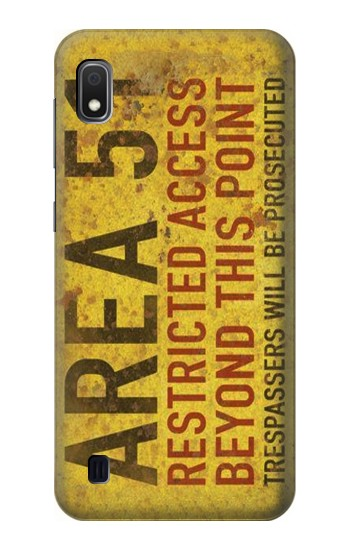 Printed Area 51 Restricted Access Warning Sign Samsung Galaxy A10 Case