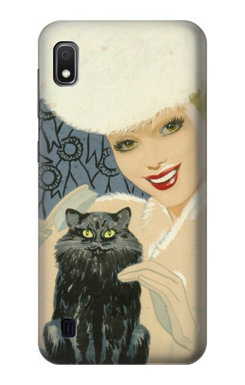 Printed Beautiful Lady With Black Cat Samsung Galaxy A10 Case