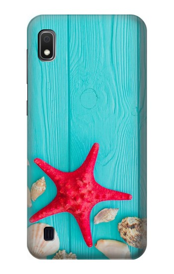 Printed Aqua Wood Starfish Shell Samsung Galaxy A10 Case