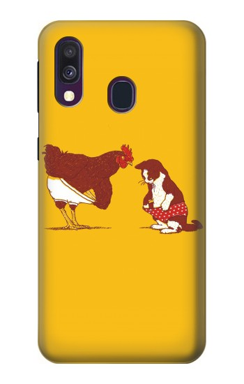 Printed Rooster and Cat Joke Samsung Galaxy A40 Case
