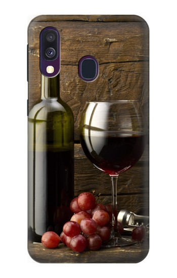 Printed Grapes Bottle and Glass of Red Wine Samsung Galaxy A40 Case