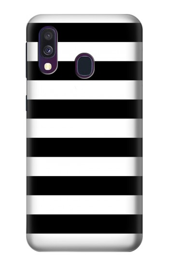Printed Black and White Striped Samsung Galaxy A40 Case