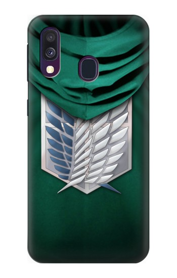 Printed Attack on Titan Scouting Legion Rivaille Green Cloak Samsung Galaxy A40 Case