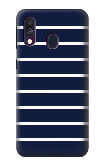 Printed Navy White Striped Samsung Galaxy A40 Case