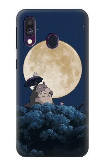 Printed Totoro Ocarina Moon Night Samsung Galaxy A40 Case