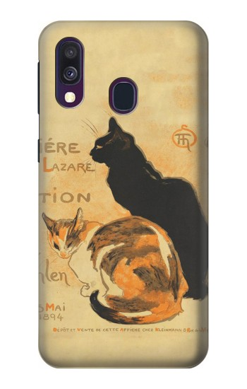 Printed Vintage Cat Poster Samsung Galaxy A40 Case