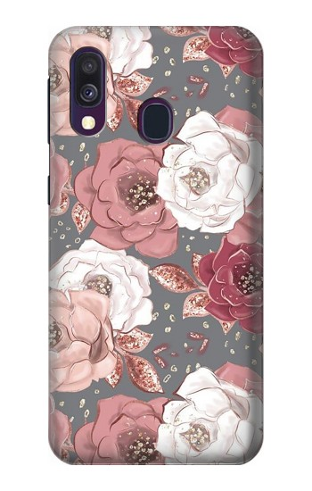 Printed Rose Floral Pattern Samsung Galaxy A40 Case