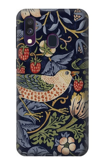 Printed William Morris Strawberry Thief Fabric Samsung Galaxy A40 Case