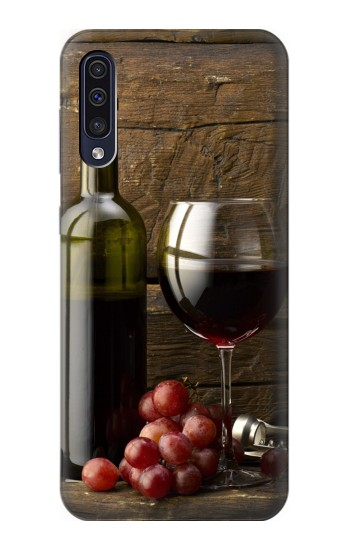 Printed Grapes Bottle and Glass of Red Wine Samsung Galaxy A50 Case