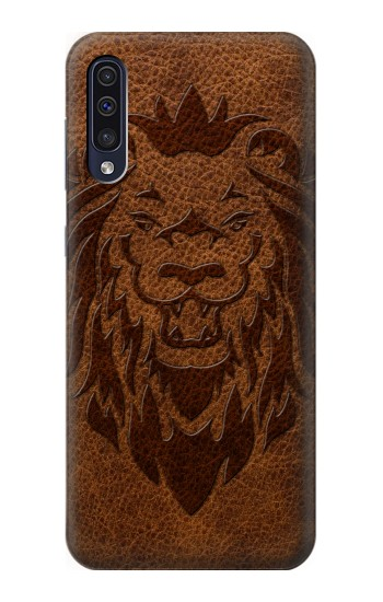 Printed Leo Tattoo Brown Leather Samsung Galaxy A50 Case