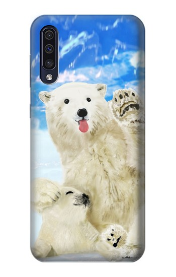 Printed Arctic Polar Bear in Love with Seal Paint Samsung Galaxy A50 Case