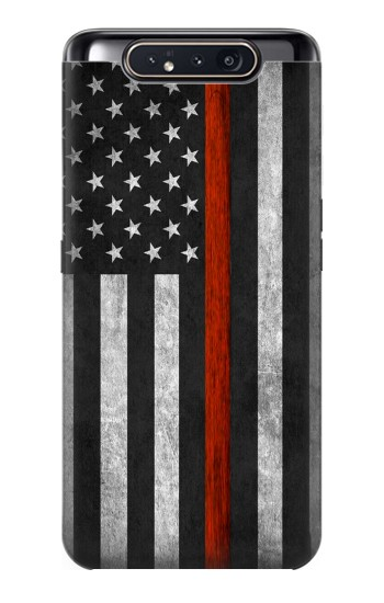 Printed Firefighter Thin Red Line Flag Samsung Galaxy A80 Case