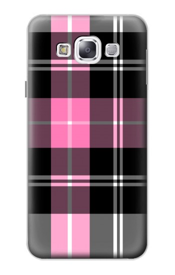 Printed Pink Plaid Pattern Samsung Galaxy E5 Case