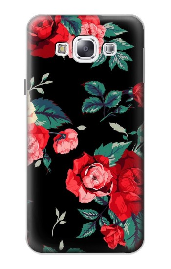 Printed Rose Floral Pattern Black Samsung Galaxy E5 Case