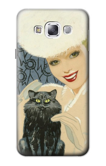 Printed Beautiful Lady With Black Cat Samsung Galaxy E5 Case