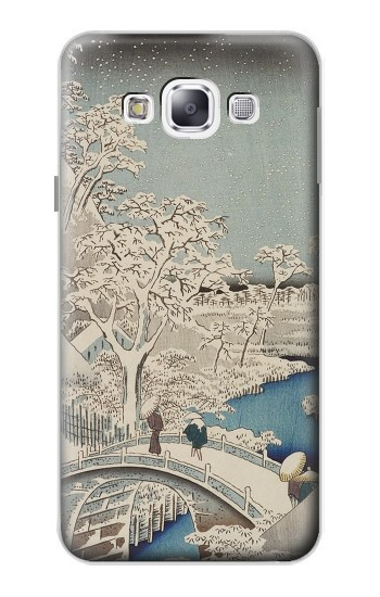 Printed Utagawa Hiroshige The Drum Bridge at Yuhi Hill in Meguro Samsung Galaxy E5 Case