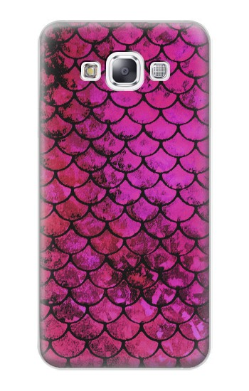 Printed Pink Mermaid Fish Scale Samsung Galaxy E7 Case