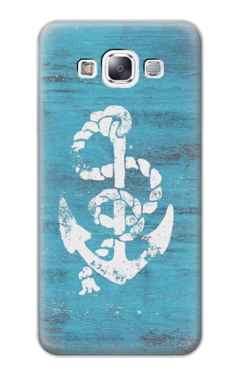 Printed Marine Anchor Blue Wooden Samsung Galaxy E7 Case