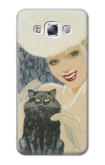 Printed Beautiful Lady With Black Cat Samsung Galaxy E7 Case
