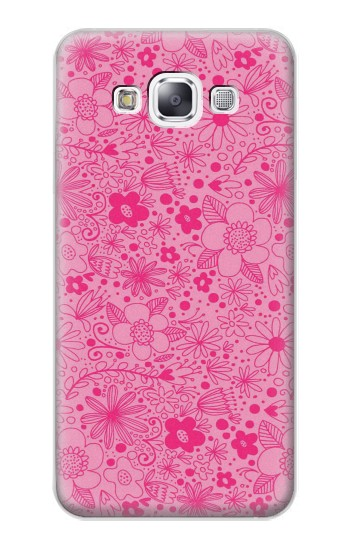 Printed Pink Flower Pattern Samsung Galaxy E7 Case
