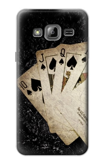 Printed Vintage Royal Straight Flush Cards Samsung Galaxy J1 Case