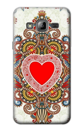 Printed Heart Pattern Line Art Samsung Galaxy J1 Case