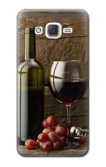 Printed Grapes Bottle and Glass of Red Wine Samsung Galaxy J5 Case