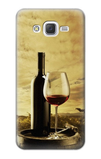 Printed A Grape Vineyard Grapes Bottle and Glass of Red Wine Samsung Galaxy J5 Case