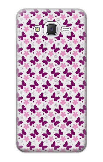 Printed Butterfly and Flower Pattern Samsung Galaxy J5 Case