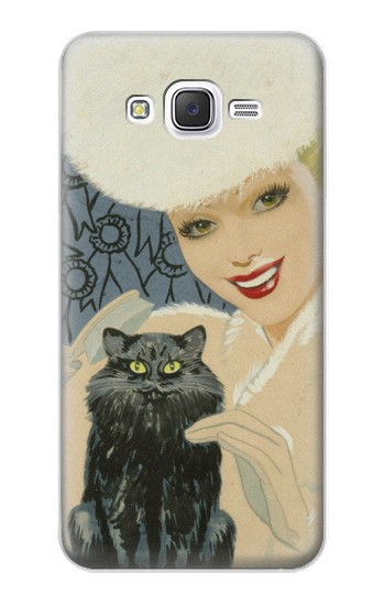Printed Beautiful Lady With Black Cat Samsung Galaxy J5 Case