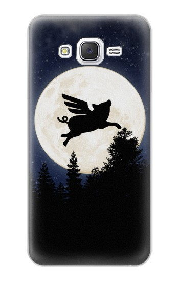 Printed Flying Pig Full Moon Night Samsung Galaxy J5 Case