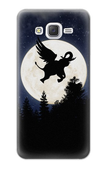 Printed Flying Elephant Full Moon Night Samsung Galaxy J5 Case