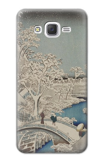 Printed Utagawa Hiroshige The Drum Bridge at Yuhi Hill in Meguro Samsung Galaxy J5 Case