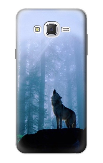 Printed Wolf Howling in Forest Samsung Galaxy J7 Case