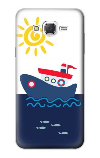 Printed Cartoon Fishing Boat Samsung Galaxy J7 Case
