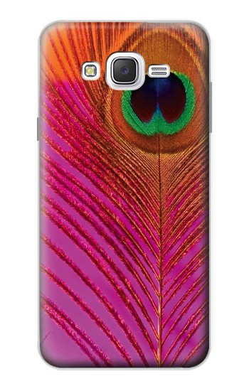 Printed Pink Peacock Feather Samsung Galaxy J7 Case
