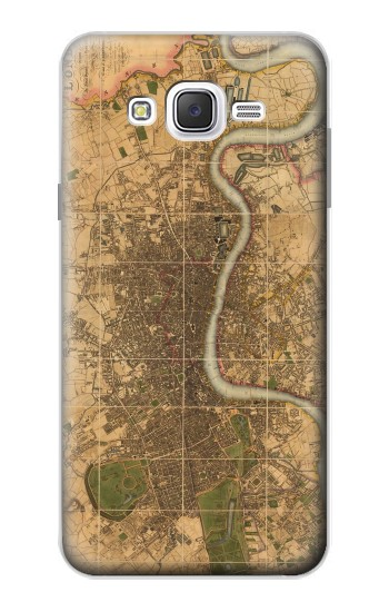 Printed Vintage Map of London Samsung Galaxy J7 Case