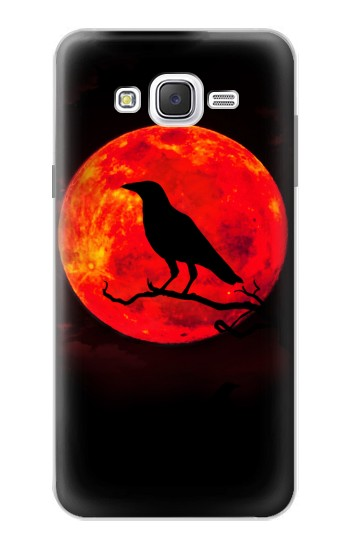 Printed Crow Red Moon Samsung Galaxy J7 Case