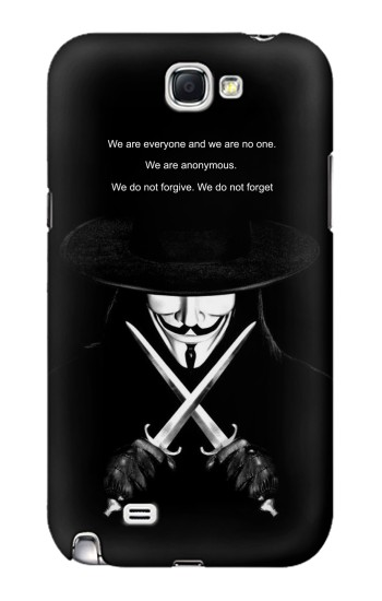 Printed V Mask Guy Fawkes Anonymous Samsung Note 2 Case