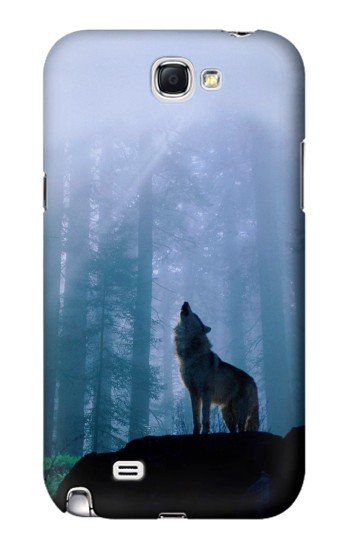 Printed Wolf Howling in Forest Samsung Note 2 Case