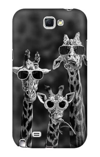 Printed Giraffes With Sunglasses Samsung Note 2 Case