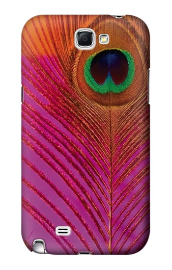 Printed Pink Peacock Feather Samsung Note 2 Case