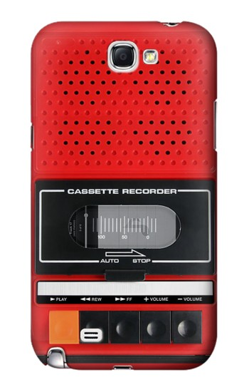 Printed Red Cassette Recorder Graphic Samsung Note 2 Case