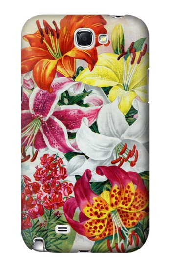Printed Retro Art Flowers Samsung Note 2 Case