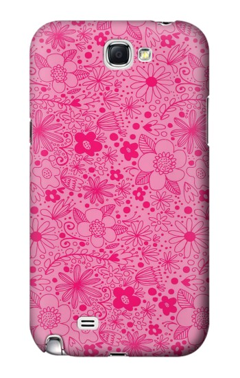 Printed Pink Flower Pattern Samsung Note 2 Case