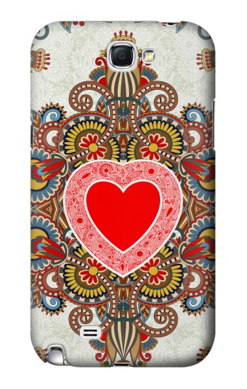Printed Heart Pattern Line Art Samsung Note 2 Case