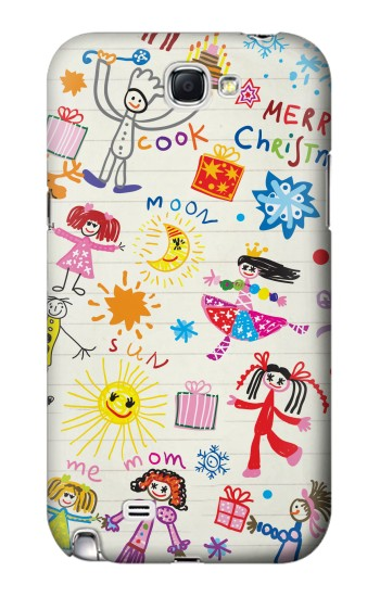 Printed Kids Drawing Samsung Note 2 Case