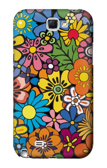 Printed Colorful Flowers Pattern Samsung Note 2 Case