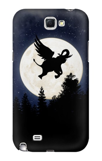 Printed Flying Elephant Full Moon Night Samsung Note 2 Case