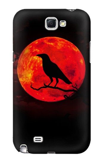 Printed Crow Red Moon Samsung Note 2 Case
